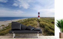 Vliestapete Am Strand von Sylt, Leuchtturm auf der Düne, Panorama – Bild 3