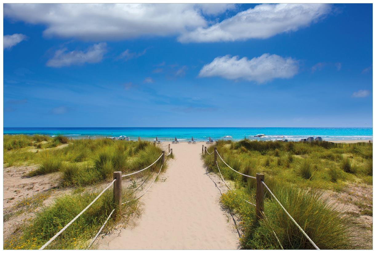 Vliestapete Sandweg zum blauen Meer mit blauem Himmel – Bild 1
