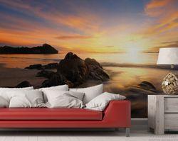 Vliestapete Sonne über dem Meer mit Felsenlandschaft – Bild 2