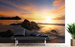 Vliestapete Sonne über dem Meer mit Felsenlandschaft – Bild 3
