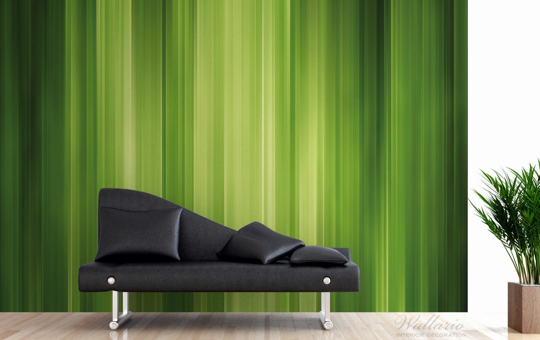 Vliestapete Grün und schwarz gestreift - Abstraktes Streifenmuster – Bild 3