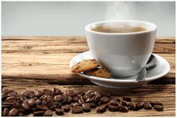 Vliestapete Heiße Tasse Kaffee mit Kaffeebohnen – Bild 1