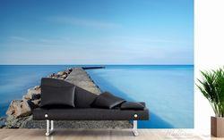 Vliestapete Pier am blauen Ozean mit blauem Himmel – Bild 3