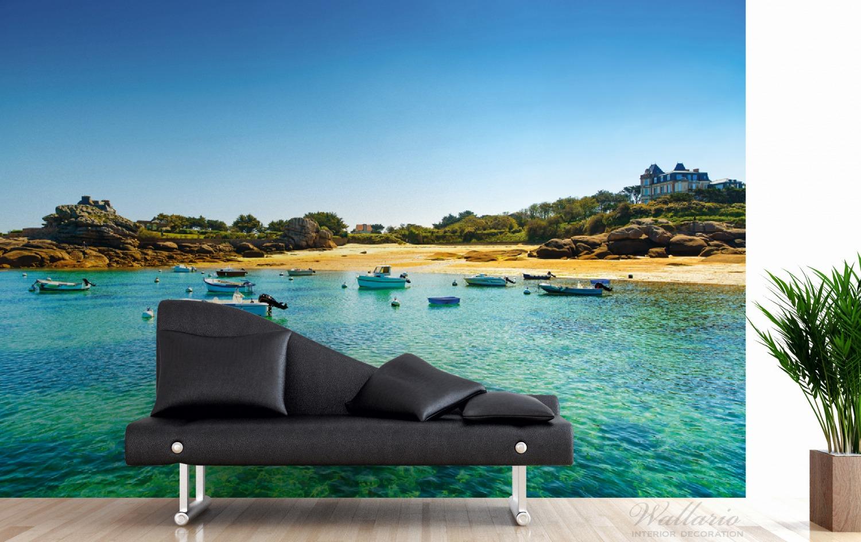 Vliestapete Französische Bucht mit klarem Wasser und Booten – Bild 3