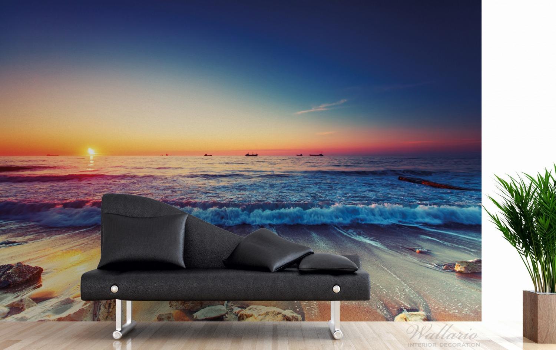 Vliestapete Sonnenuntergang am Meer mit Wellen am Strand – Bild 3