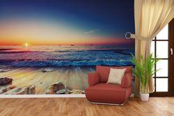Vliestapete Sonnenuntergang am Meer mit Wellen am Strand – Bild 4