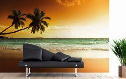 Vliestapete Palmen am Sandstrand bei untergehender Sonne – Bild 3