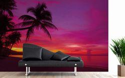 Vliestapete Abendrot unter Palmen - pinker Himmel am Strand – Bild 3