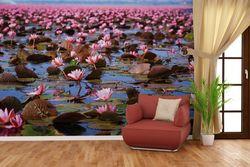 Vliestapete Seerosenlandschaft mit rosa Blüten – Bild 4