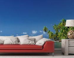 Vliestapete Blauer Himmel, weißer Strand, Palmen und das tiefblaue Meer – Bild 2