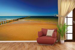 Vliestapete Sandstrand in orange - Blaues Meer - Blauer Himmel – Bild 4