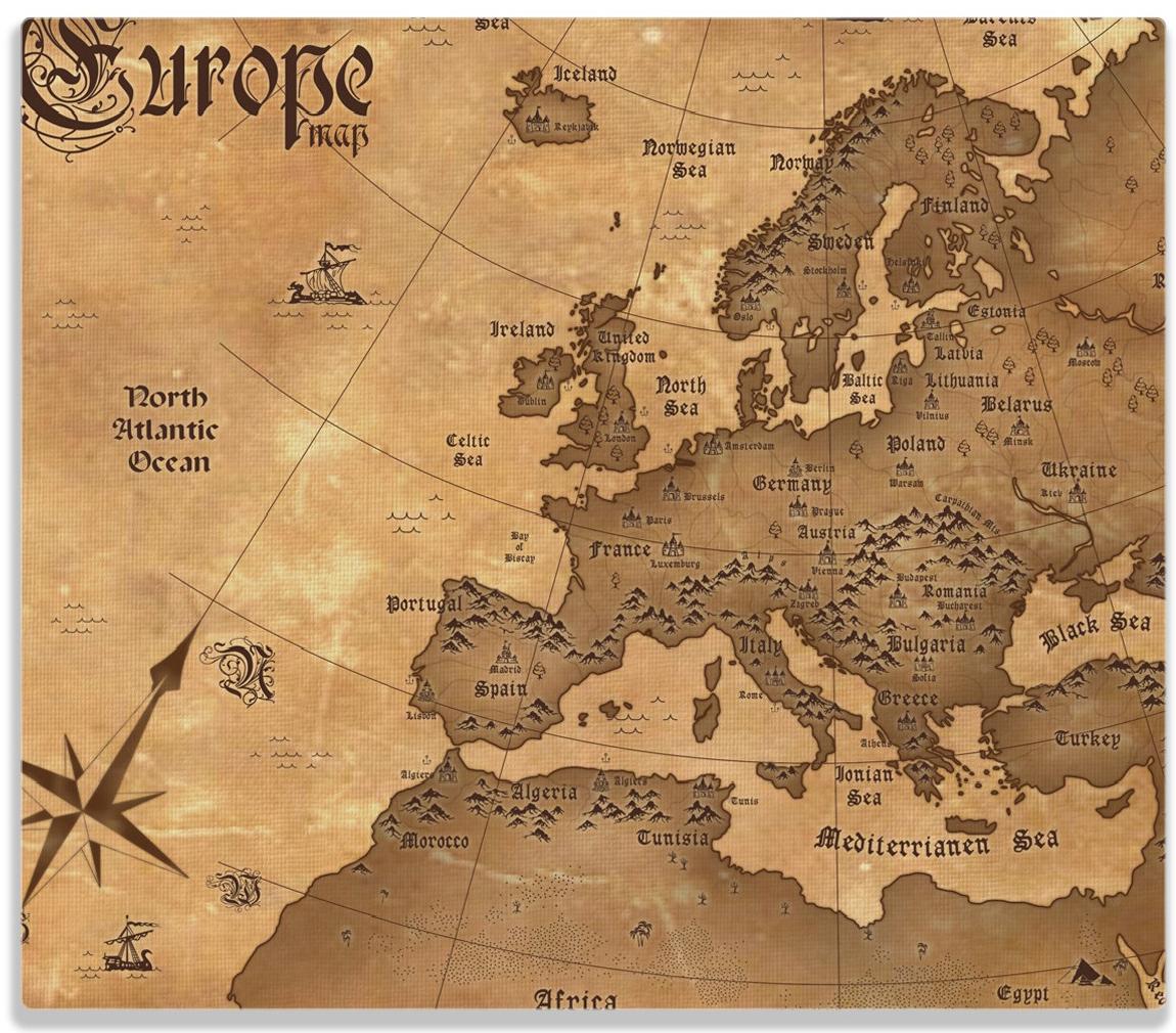 Herdabdeckplatte Alte Weltkarte   Karte von Europa in englisch – Bild 1