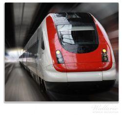 Herdabdeckplatte Fahrender Zug von vorn in rot- Perspektive von vorn – Bild 1
