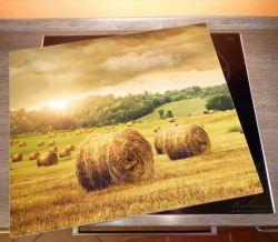 Herdabdeckplatte Strohballen auf dem Feld bei Sonnenuntergang – Bild 2