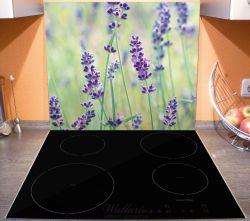 Herdabdeckplatte Lila Blumenfreude - Violette Pflanzen auf der Wiese – Bild 3