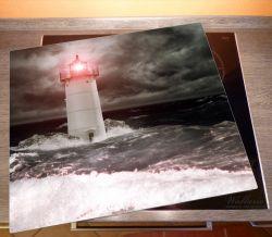 Herdabdeckplatte Leuchtturm im Wasser bei stürmischer See – Bild 2