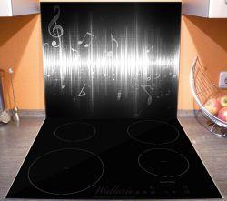 Herdabdeckplatte Noten der Musik in schwarz und weiß – Bild 3