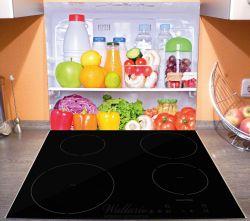 Herdabdeckplatte Offener gefüllter Kühlschrank – Bild 3