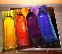 Herdabdeckplatte Gelb-lila Flaschen – Bild 2