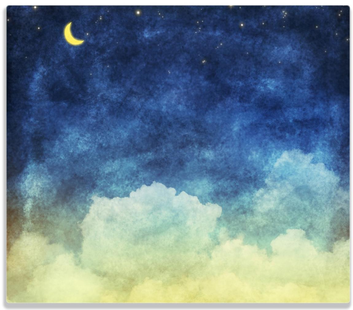 Herdabdeckplatte Wolkenhimmel mit Mond und Sternen – Bild 1