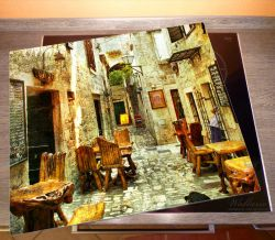 Herdabdeckplatte Italienische kleine Gasse – Bild 2