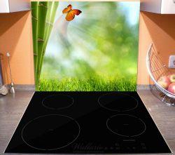 Herdabdeckplatte Schmetterling im Grünen mit Bambus – Bild 3