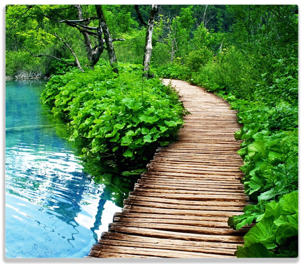 Herdabdeckplatte Holzweg im Wald – Bild 1