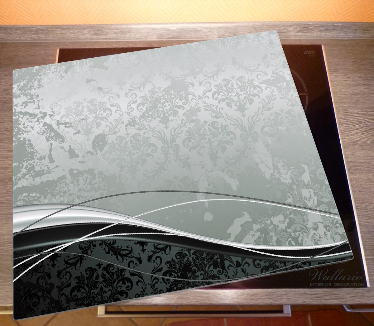 Grau-schwarze Schnörkelei Wellen grau Wallario Glas Schneidebrett 30 x 40 cm