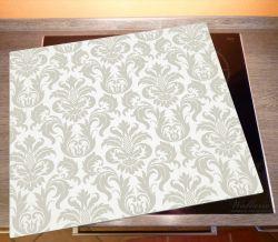 Herdabdeckplatte Königliche Schnörkelei in weiß und beige – Bild 2