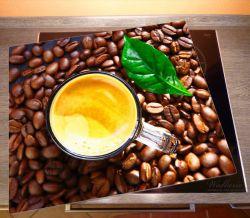 Herdabdeckplatte Kaffee und Bohnen – Bild 2