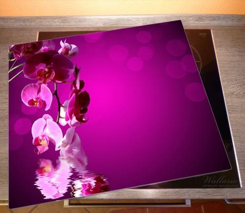 Herdabdeckplatte Rosafarbene Orchidee  Blüten in pink – Bild 2