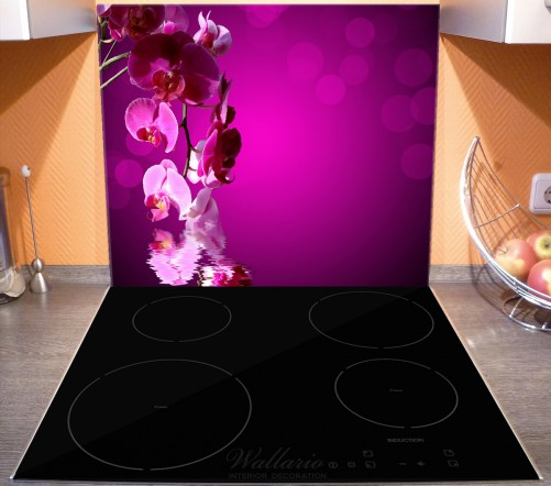 Herdabdeckplatte Rosafarbene Orchidee  Blüten in pink – Bild 3