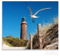 Herdabdeckplatte Möwe am Strand mit Leuchtturm – Bild 1