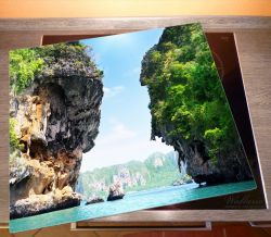 Herdabdeckplatte Felsenschlucht am Meer in Thailand – Bild 2