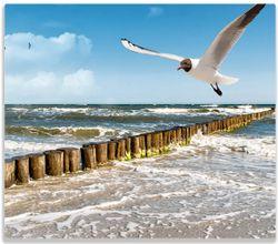 Herdabdeckplatte Fliegende Möwe am Strand – Bild 1