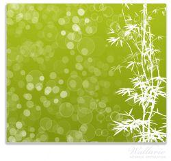 Herdabdeckplatte Bambusmuster grün-weiß – Bild 1