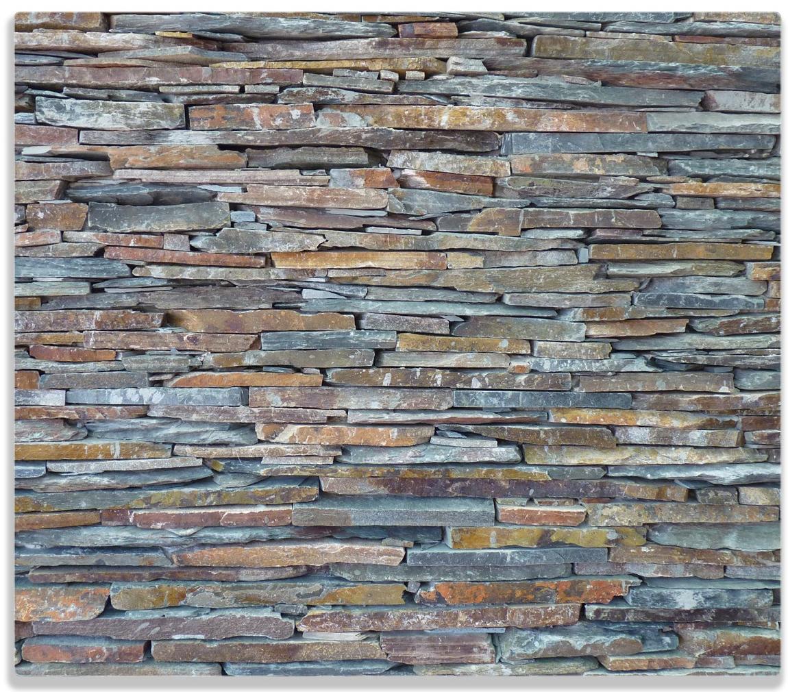 Herdabdeckplatte Natursteinmauer in grau braun – Bild 1