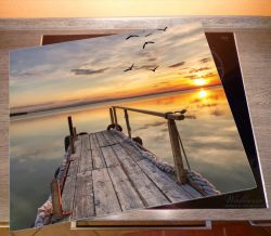 Herdabdeckplatte Sonnenuntergang über dem See, idyllischer Steg – Bild 2