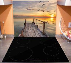 Herdabdeckplatte Sonnenuntergang über dem See, idyllischer Steg – Bild 3