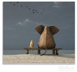 Herdabdeckplatte Elefant und Hund sitzen auf einer Bank – Bild 1
