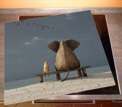 Herdabdeckplatte Elefant und Hund sitzen auf einer Bank – Bild 2