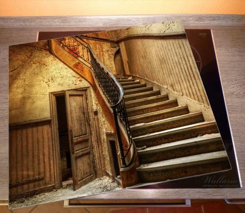 Herdabdeckplatte Rustikale Holztreppe – Bild 2