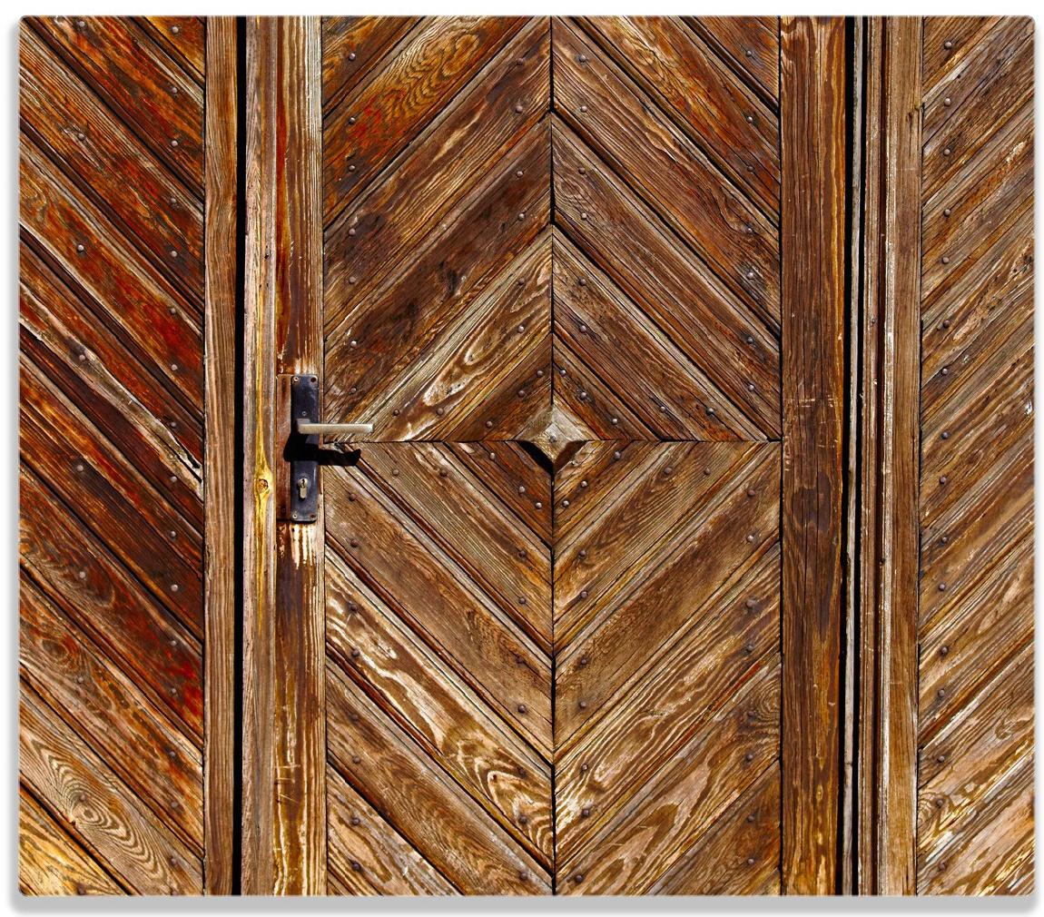 Herdabdeckplatte Alte Holztür mit diagonalem Muster – Bild 1