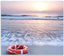 Herdabdeckplatte Rettungsring am Strand bei Sonnenuntergang – Bild 1