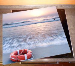 Herdabdeckplatte Rettungsring am Strand bei Sonnenuntergang – Bild 2