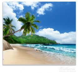 Herdabdeckplatte Urlaub auf den Seychellen unter Palmen am Sandstrand – Bild 1
