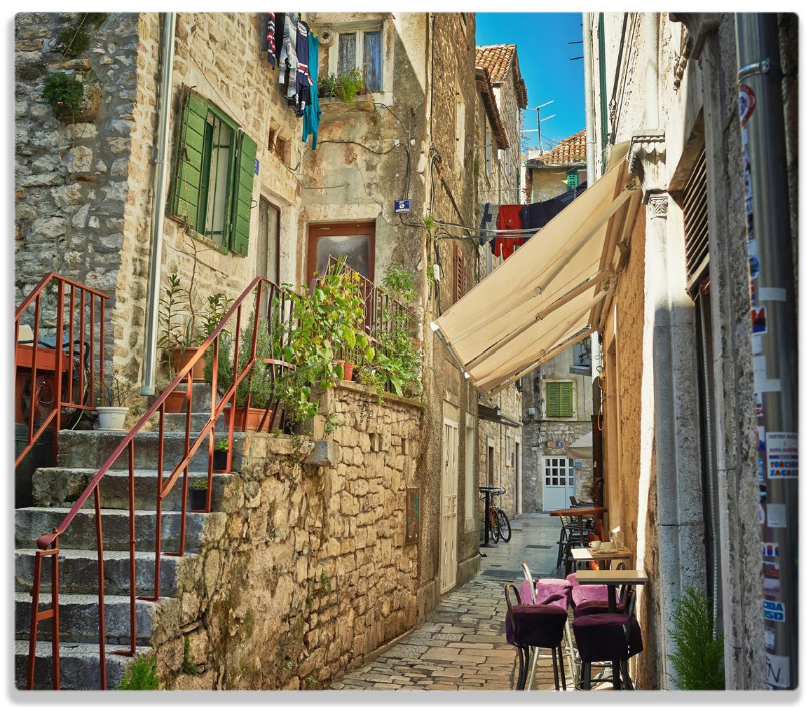 Herdabdeckplatte Romantische Gasse in Kroatien mitten in der Stadt – Bild 1