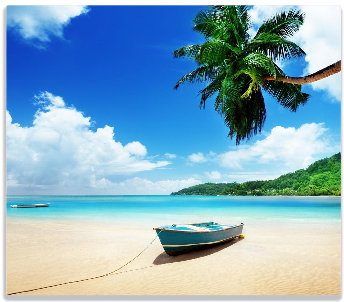 Herdabdeckplatte Urlaub am Palmenstrand unter Palmen mit Fischerboot – Bild 1