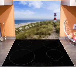 Herdabdeckplatte Am Strand von Sylt, Leuchtturm auf der Düne, Panorama – Bild 3