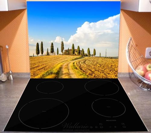 Herdabdeckplatte Italien - Toskana unter blauem Himmel  einsame Farm – Bild 3
